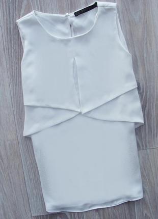 Шикарная белая шифоновая блуза без рукав со свободным разлетающимся верхом zara