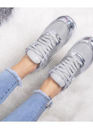 Кроссовки серебряные серебро размеры 36-41