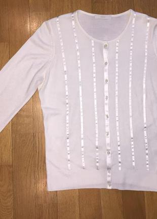 Кофта белая marks & spencer акрил с шелковыми лентами