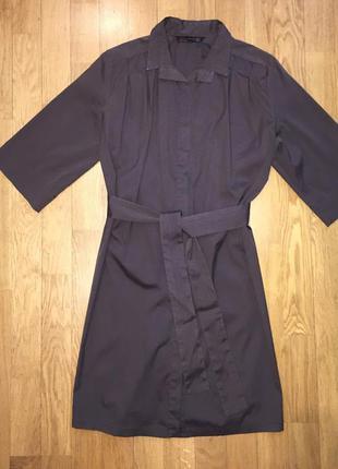 Платье рубашка коричневое zara