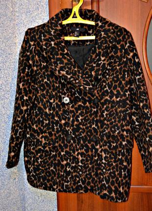 Пальто бойфренд тигровое
