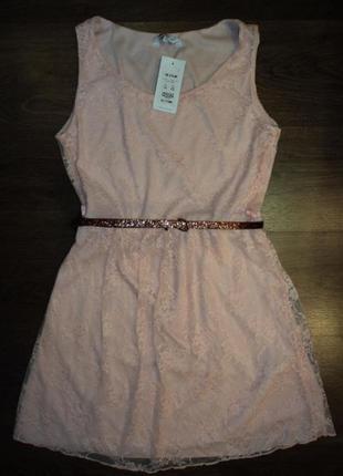 Новое персиковое гипюровое ажурное платье от new look
