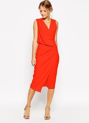 Платье asos миди красное с драпировкой