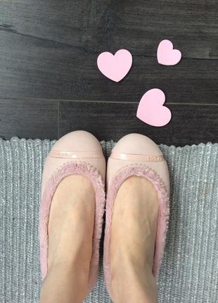 Пудровые утепленные балетки crocs 35 размера