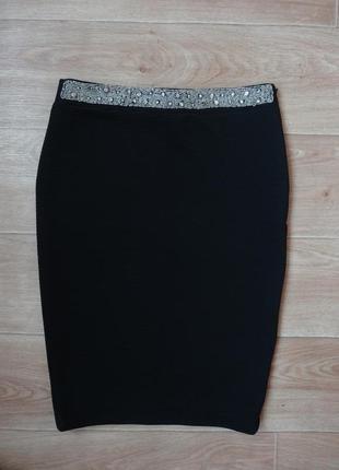 Zara шикарная юбка карандаш с блестящим поясом