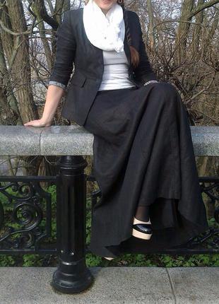 Макси юбка из 100% полированного льна