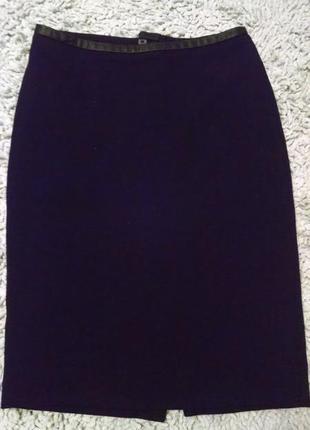 Фактурная юбка с кожзамом на поясе
