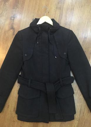 Серое кашемировое пальто zara