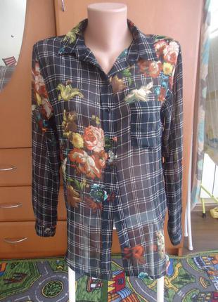 Яркая рубашка-блуза от манго