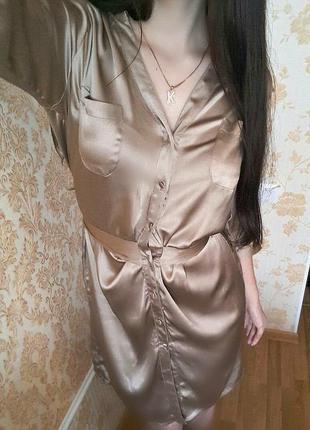 Шикарное шелковое платье-рубашка в бельевом стиле от next m-l