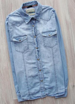 Стильная джинсовая голубая рубашка бойфренд на кнопках next