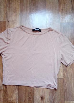 Нюдовый бежевый кроп топ укороченная футболка