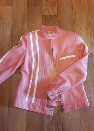 Скидки! кожаная куртка-косуха в байкерском стиле фирмы pole-nord leather (турция)