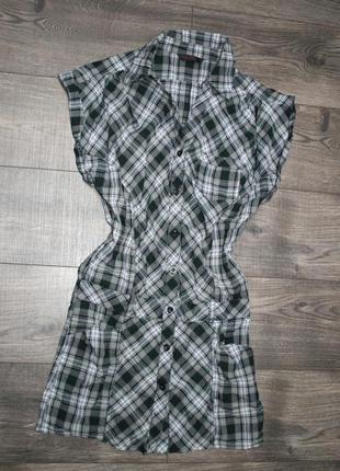Платье-рубашка в клетку (s)
