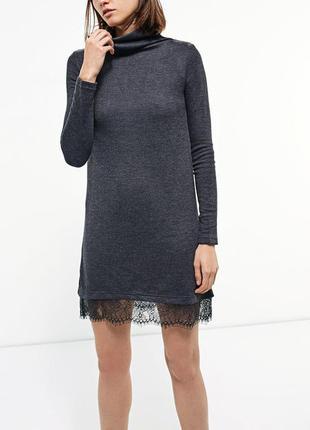 Платье кофта, платье с французским кружевом, короткое весенние платье, плаття