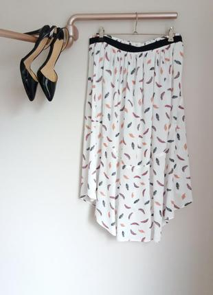 Летняя юбка миди с перышками