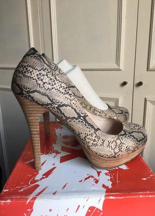 Туфли змеиный принт на высоком каблуке xti intertop