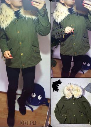 Куртка-парка с объёмным воротником-капюшоном хаки  весна riverisland