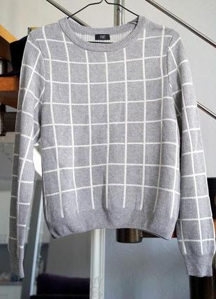 Серый свитер в геометрический узор от f&f