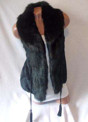 Черная меховая жилетка укороченный жилет искусственный мех короткая
