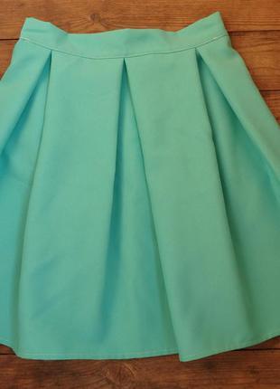 Акция! мятная голубая бирюзовая юбка в складку, р s m l есть другие цвета