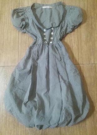 Платье барби,в клетку,рукав фонарик,юбка колокольчик))