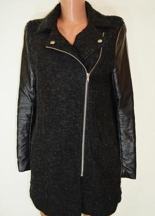 Пальто-косуха шерсть букле с кожаными рукавами h&m