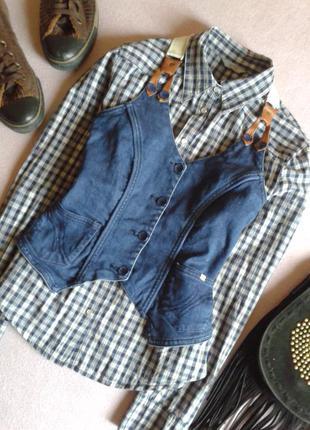 Стильная джинсовая жилетка с кожаными вставками vero moda