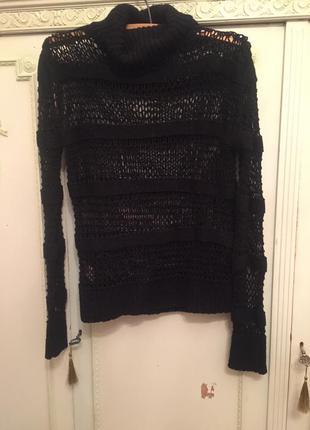 Крутой черный свитер сетка mango!