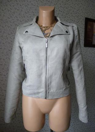 Стильная серая замшевая куртка h&m размер m - l zara bershka косуха кожаная
