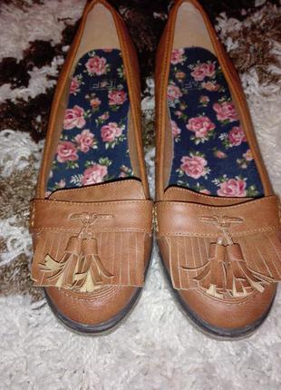 Рыжие туфли оксфорды