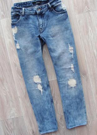 Трендовые рваные джинсы бойфренды с потертостями tally weijl