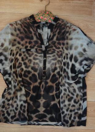 Mango шифоновая блуза animal - принта