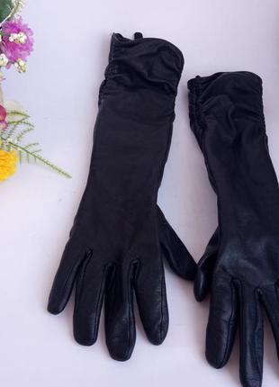 Высокие кожаные перчатки, натуральная кожа