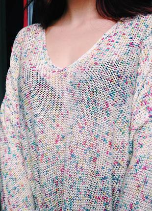 Легкий весенний оверсайз свитер h&m с цветными капельками,  отправка укрпочтой бесплатная