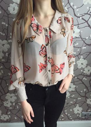 Весенняя нарядная блуза пудровая