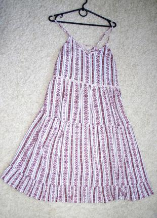 Модное миди платье сарафан а-образный силует вискоза спинка на шнуровке new look