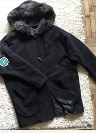 Шерстяное модное пальто тренч с глубоким капюшоном