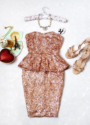 Шикарнейшое платье от danity с баской, в пайетках, размер 8(uk), см. замеры