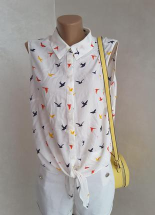 Блуза f&f в принт птички р. 16 на хл - 2хл размер