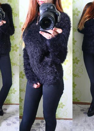 Черный пушистый свитер травка, мягкая воздушная кофта seven sisters