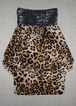 Платье good look короткое леопардовое с пайетками