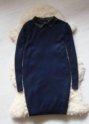 Теплое платье атм с воротничком из эко-кожи