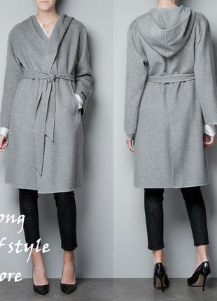 Zara шерстяное пальто с капюшоном, на запах