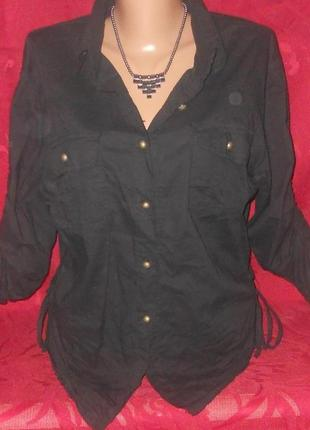 Стильная рубашка черная редкость хлопчатобумажная