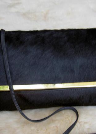 Сумка-клатч topshop натуральная кожа и мех пони