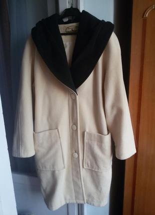 Актуальное шерстяное пальто с модным большим капюшоном воротником ellen partridge