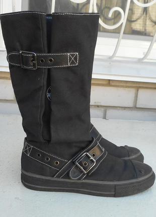 Новые черные джинсовые демисезонные высокие сапоги