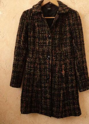 Твидовое пальто с долей шерсти