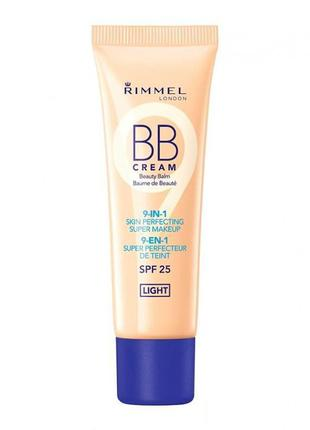 Тональная крем bb-крем rimmel bb cream 9in1 skin perfecting super makeup spf25